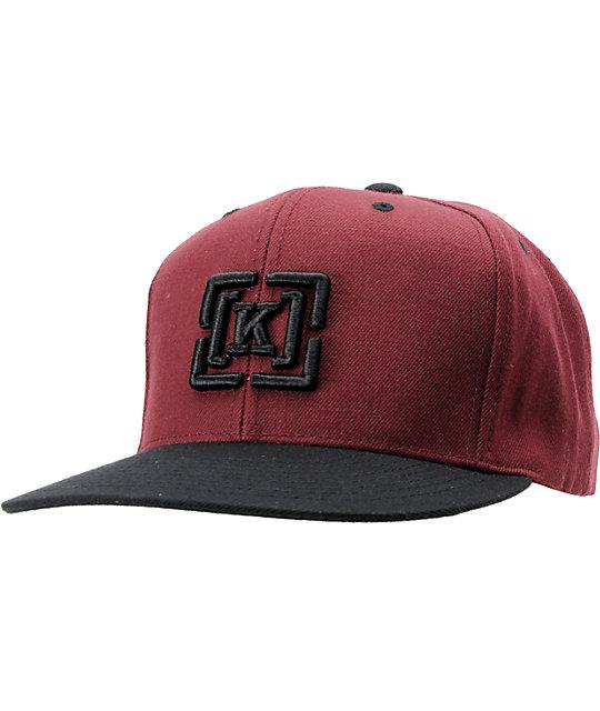 KR3W Brackets 2 Tone Burgundy Snapback Hat  58db01a420a