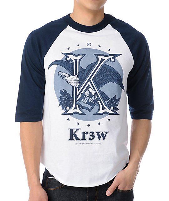 KR3W Cold One White & Navy Baseball T-Shirt