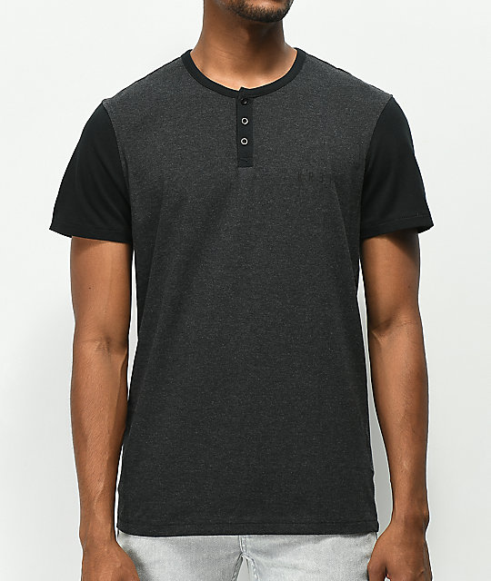 KR3W Daze Charcoal Knit Henley T-Shirt