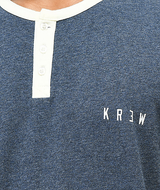 KR3W Daze Heather Navy Knit Henley T-Shirt