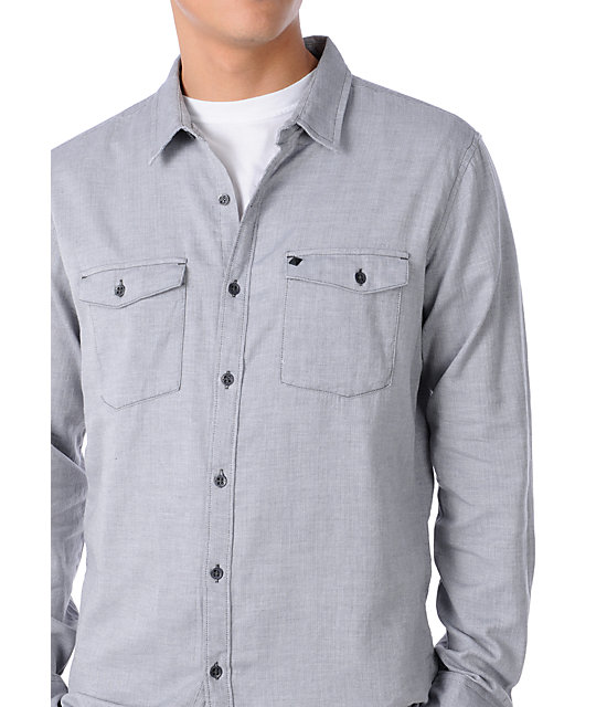 KR3W Hall Grey Herringbone Long Sleeve Woven Shirt