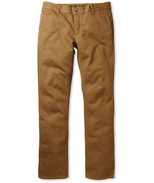 KR3W K Slim Coffee Brown Slim Fit Chino Pants