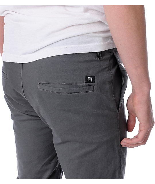 KR3W K Slim Grey Chino Pants