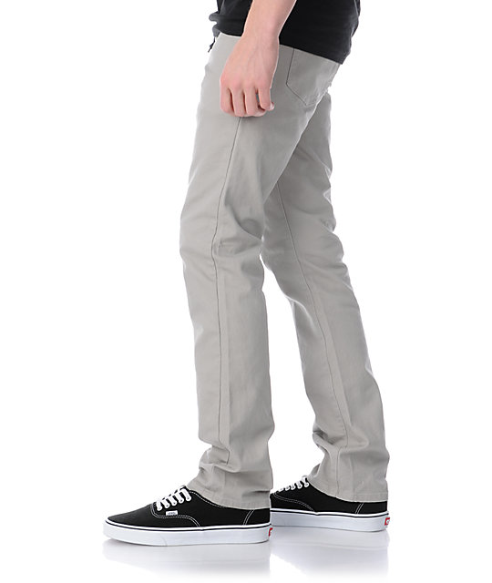 KR3W K Slim Grey Khaki Slim Fit Twill Pants