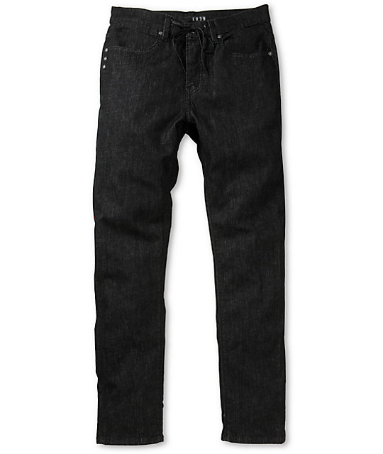 KR3W K Slim Jet Black Slim Fit Jeans ...