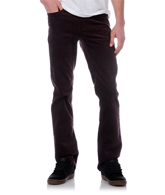 KR3W K Slims Burgundy Cord Pants