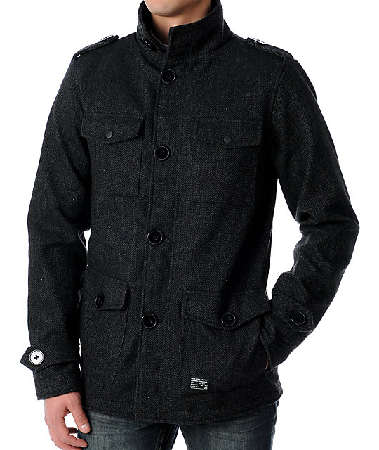 KR3W Manchester Black & Charcoal Herringbone Jacket