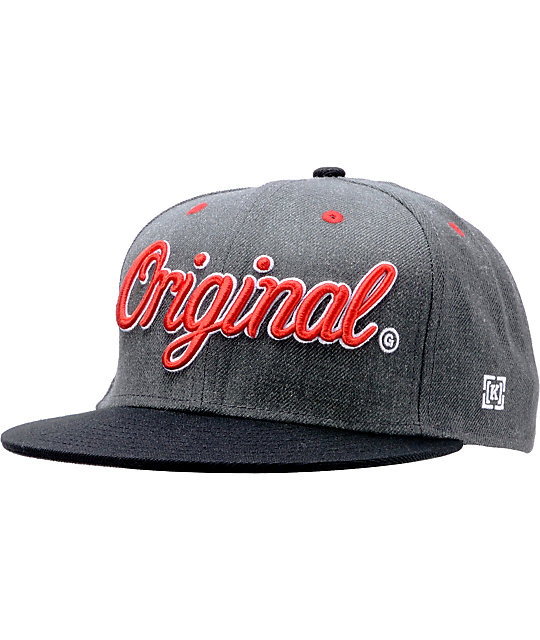 KR3W Original Charcoal   Black Snapback Hat  1ba8ef46a4d2