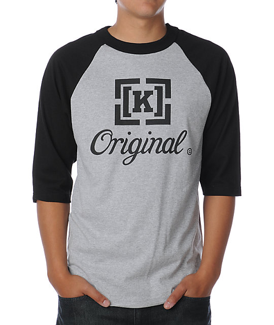 KR3W Original Grey & Black Baseball T-Shirt
