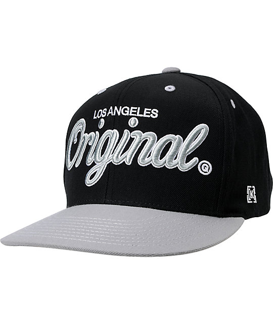 KR3W Original LA Black & Grey Snapback Hat