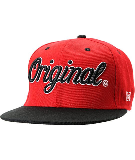 KR3W Original Red   Black Snapback Hat  cfbd205a3577