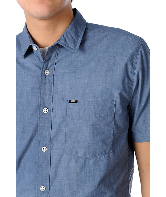 KR3W Quincy Blue Woven Short Sleeve Shirt