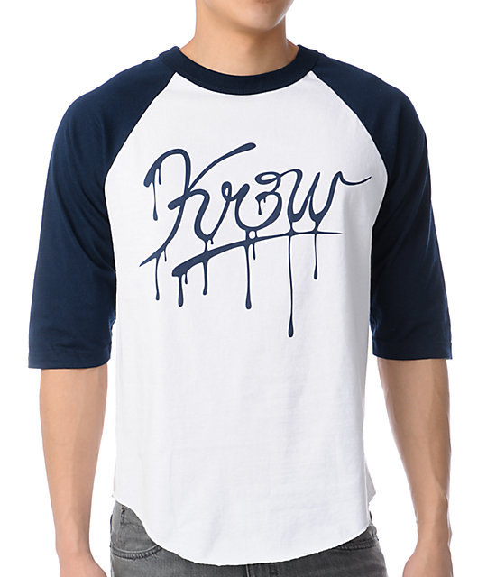KR3W Slash White & Navy Baseball T-Shirt