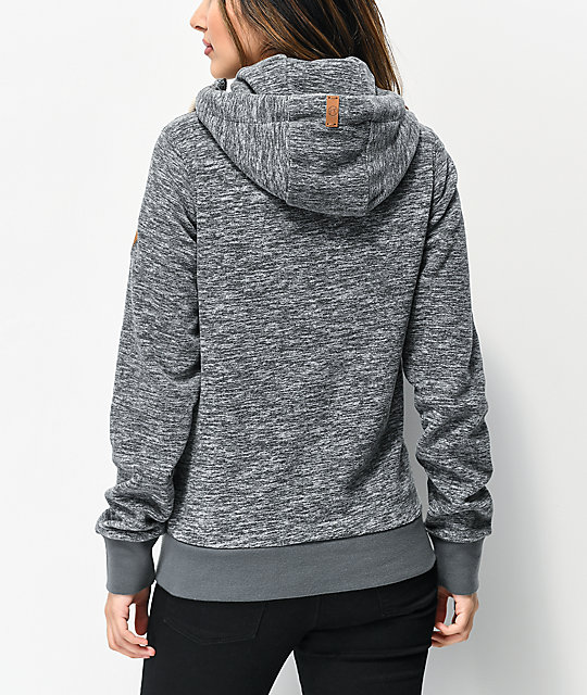 Kazane Linnea Heather Charcoal Fleece Zip Hoodie