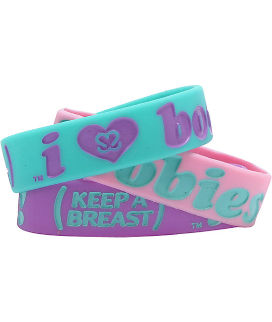 Keep A Breast Foundation Purple, Turquoise & Pink Boobies Bracelet