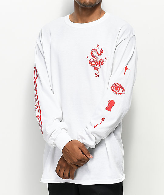 Key Street Snake White Long Sleeve T-Shirt