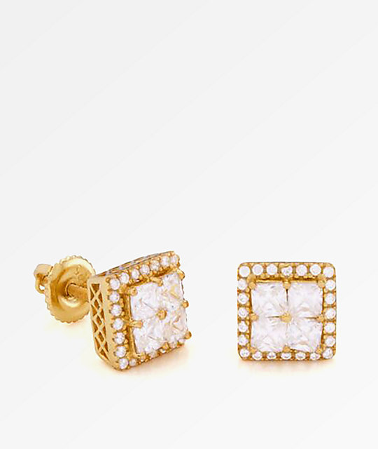 King Ice 14K Gold Layered ZC pendientes