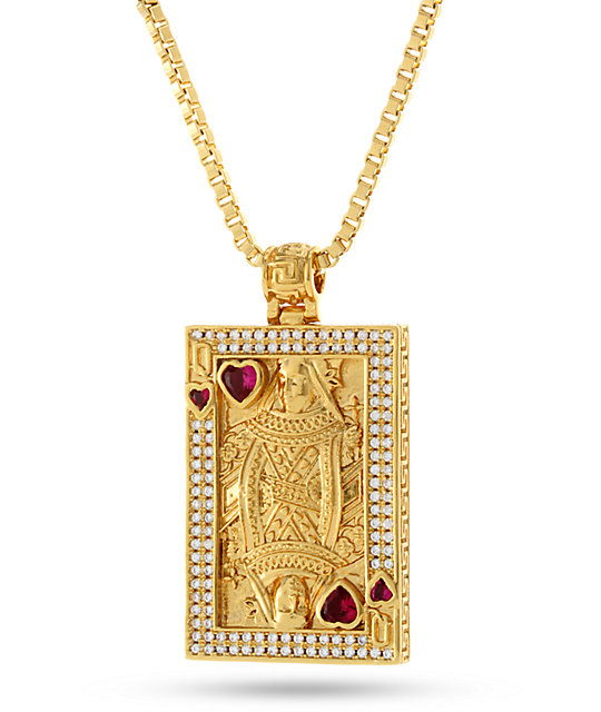 King Ice 14K Gold Suicide King Necklace