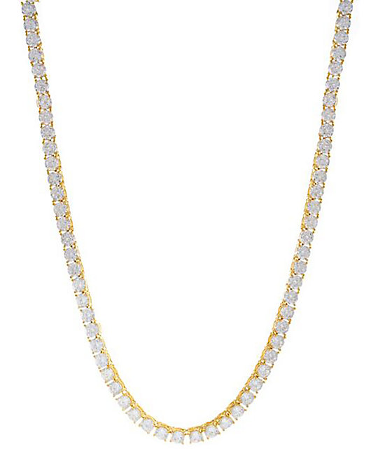 King Ice 5mm 14K Yellow Gold CZ Chain