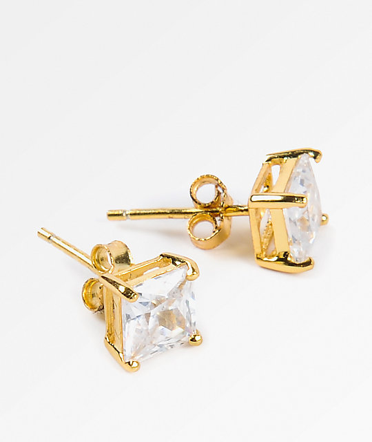 King Ice 6mm Gold Clear Princess Cut Earrings