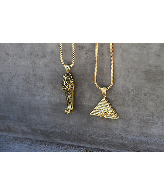 King Ice All Seeing Eye Gold Necklace