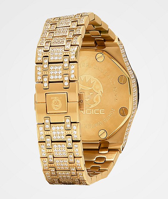 King Ice Baron 14k Gold Watch