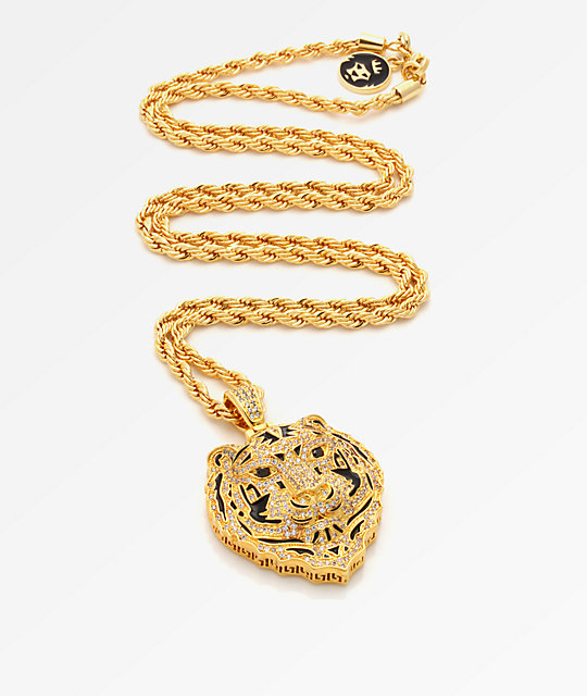 King Ice Bengal Tiger collar en oro