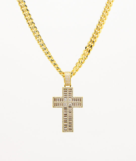 King Ice Flooded Cross Gold Necklace