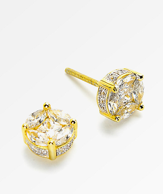 King Ice Gold On Earrings