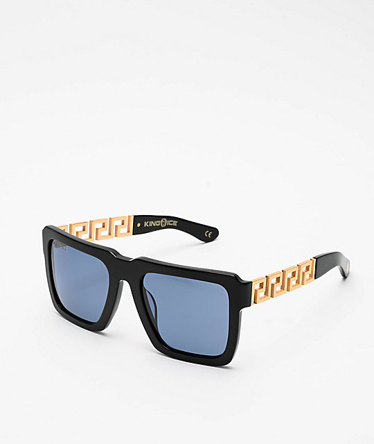 King Ice Greek Key gafas de sol polarizadas en azul y negro brillante