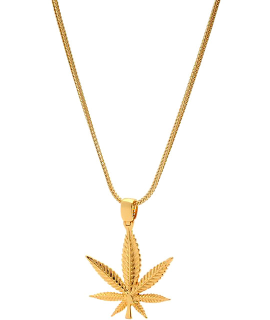 King Ice Rasta Leaf Gold Necklace