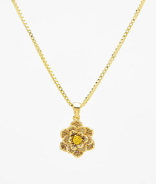 King Ice The Lotus Flower Gold Necklace Zumiez