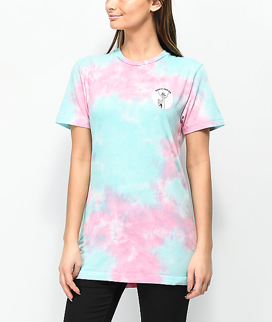 Know Bad Daze Don't Speak camiseta tie dye rosa y azul