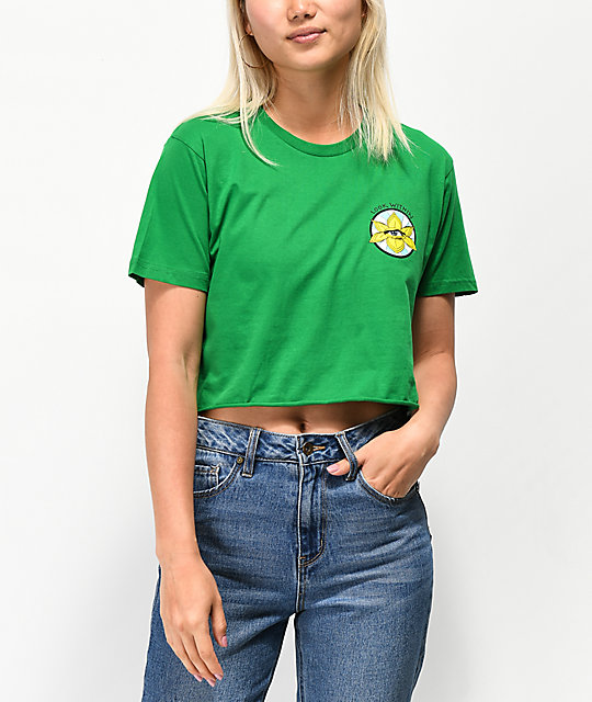 Know Bad Daze Look Within Green Crop T-Shirt
