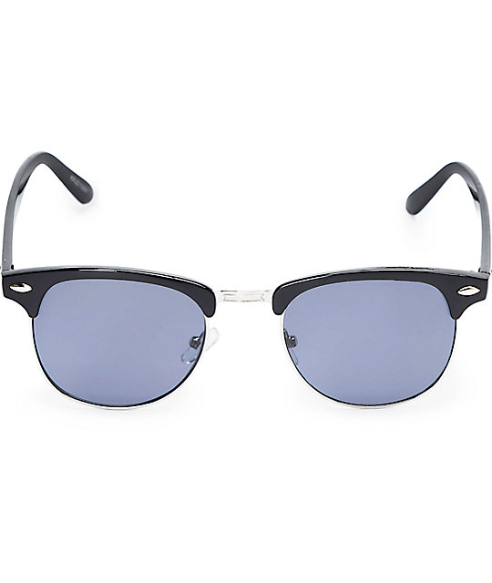 Kruz Black & Silver Retro Sunglasses