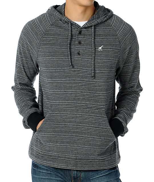 LRG Billy Marks Charcoal Striped Henley Hoodie