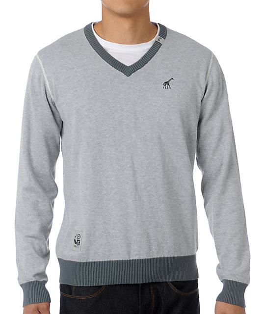 LRG CC Grey V-Neck Sweater