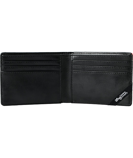 LRG CC Paneled Black & Red Bifold Wallet