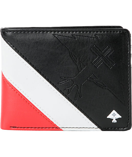 Lrg Cc Paneled Black Red Bifold Wallet Zumiez
