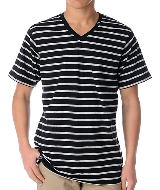 LRG CC Striped Black & Grey V-Neck T-Shirt