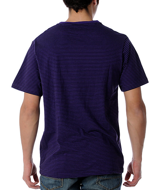 LRG CC Striped Purple V-Neck T-Shirt