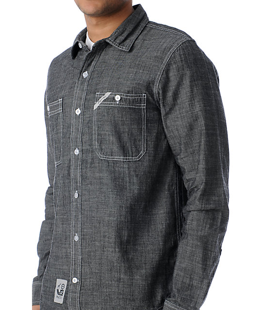 LRG CC Workshirt Black Woven Button Up Shirt