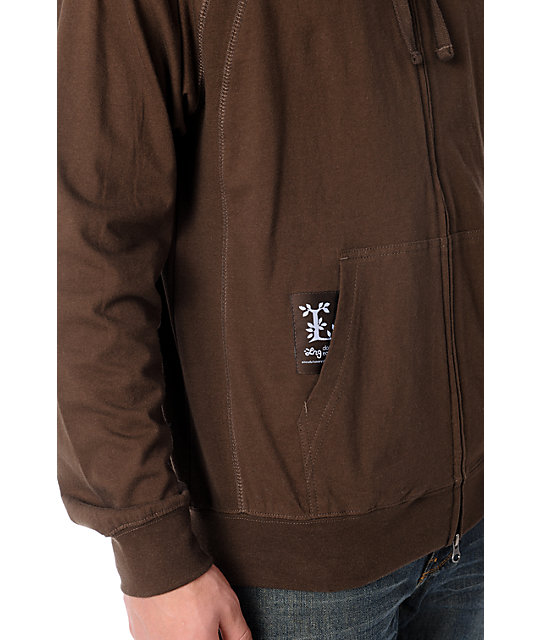 LRG Core Collection Layering Brown Zip Up Hoodie