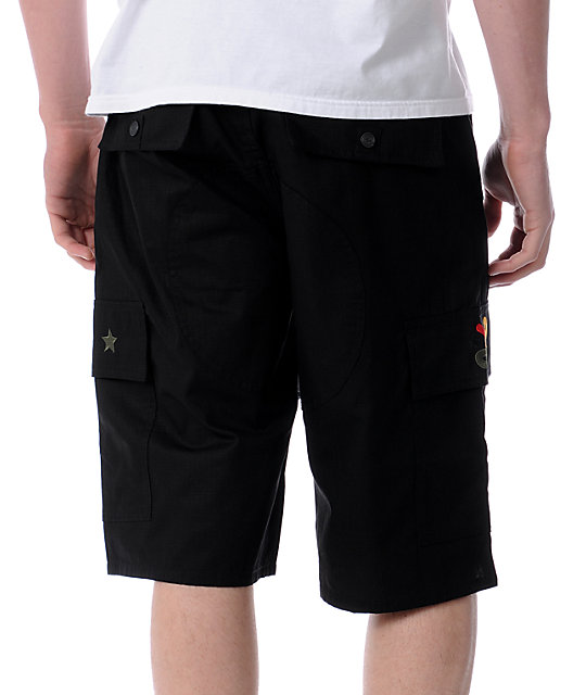 LRG Embroidered Black Cargo Shorts