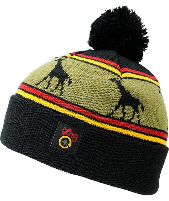 de936625 LRG Giraffe Black & Rasta Pom Beanie | Zumiez