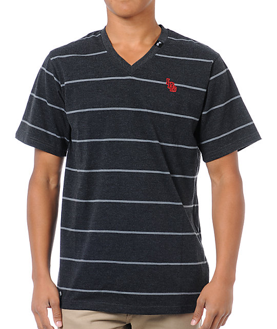 LRG Give and Go Charcoal Grey Striped V-Neck T-Shirt