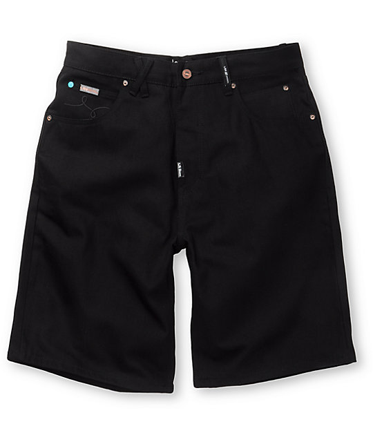 LRG Grass Roots Jet Black Denim Shorts