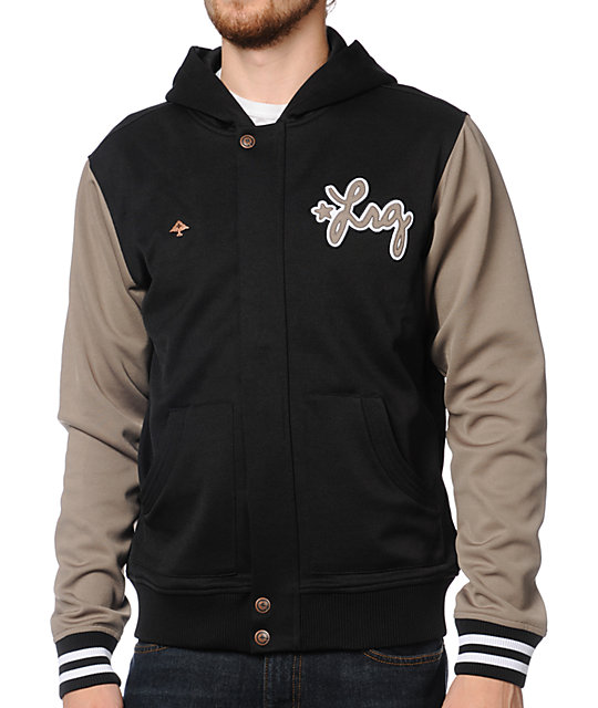 LRG Ground Up Black & Light Brown Hooded Track Jacket
