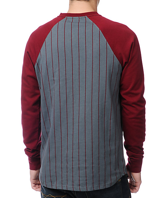 LRG Hard Slide Maroon Long Sleeve Henley Baseball T-Shirt