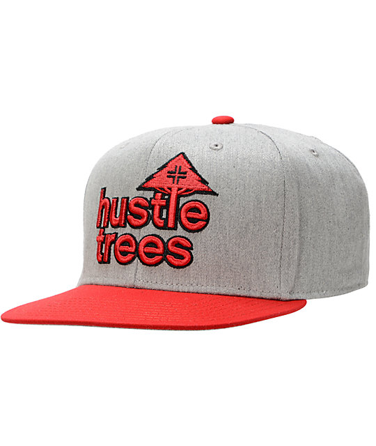 LRG Hustle Trees Grey & Red Snapback Hat